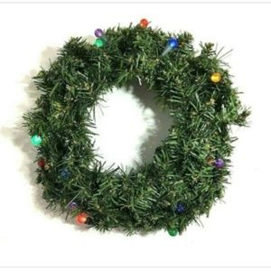"Other - Christmas Green Door 12"" Wreath Multi Color Lights"